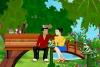 浪漫公园情侣