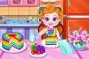 宝贝制作彩虹蛋糕