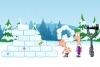 卡通明星打雪仗