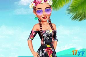 沙滩游玩的女孩们